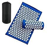 CAPOOK Alfombra de Yoga Loto Masaje Pimienta acupuntura tapete endosado y Cuello Dolor de Alivio Medicina dispensador acupuntura tapete Estera de Yoga Gruesa (Color : Blue Set)