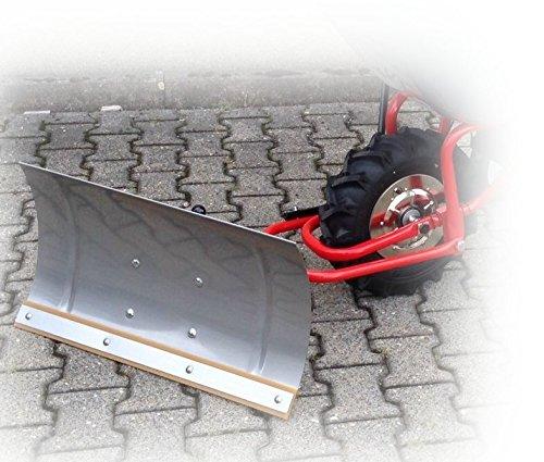 POWERPAC quitanieves (740mm) Acero Inoxidable con tira de goma y adaptador ED120–Batería, apta para nieve con batería, carretillas con motor, carretillas dumper, etc. (carretilla