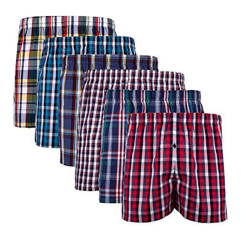 XIAOYAO Herren Boxershorts,Best Basics Boxershorts Hipster American Style Boxer Unterhosen, 6er Pack (XL, Mehrfarbig Kariert C)