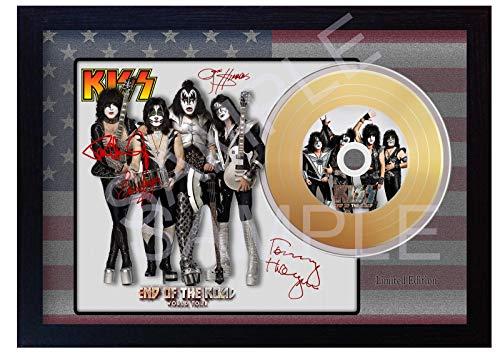 SGH SERVICES Kiss End of the Road Mini Gold Vinyl CD Schallplatte signiert gerahmt