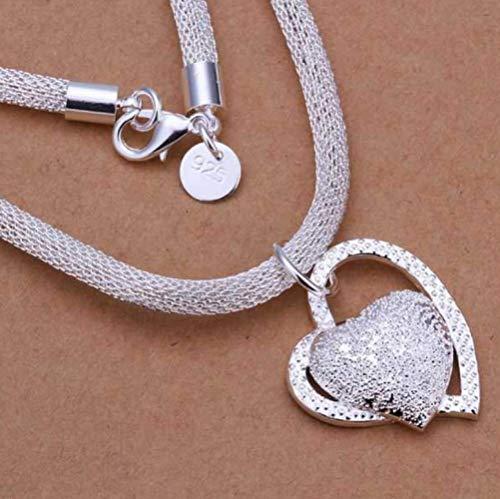 LIUWW Exquisite 925 Sterling Silber Halskette Modeschmuckkette Herz Halskette und Anhänger Damenkragen