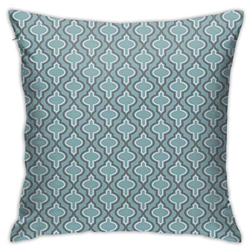 DHNKW Throw Pillow Case Cushion Cover,Oriental Moroccan Style Ethnic Shapes Rounds In Symmetic Order Orient Image ,18x18 Inches
