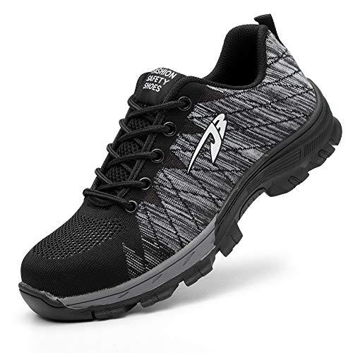 Zapatos De Seguridad para Hombre con Puntera De Acero Mujer Calzado De Trabajo Zapatos De Deportivos Transpirables Construcción Botas Trekking Gray 40