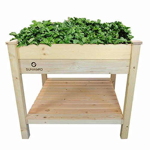 Sunward Patio Raised Garden Bed Kit, 36 x 36 Inches, Tool-Less Construction for Easy Assembly, Perfect for Summer Gardening