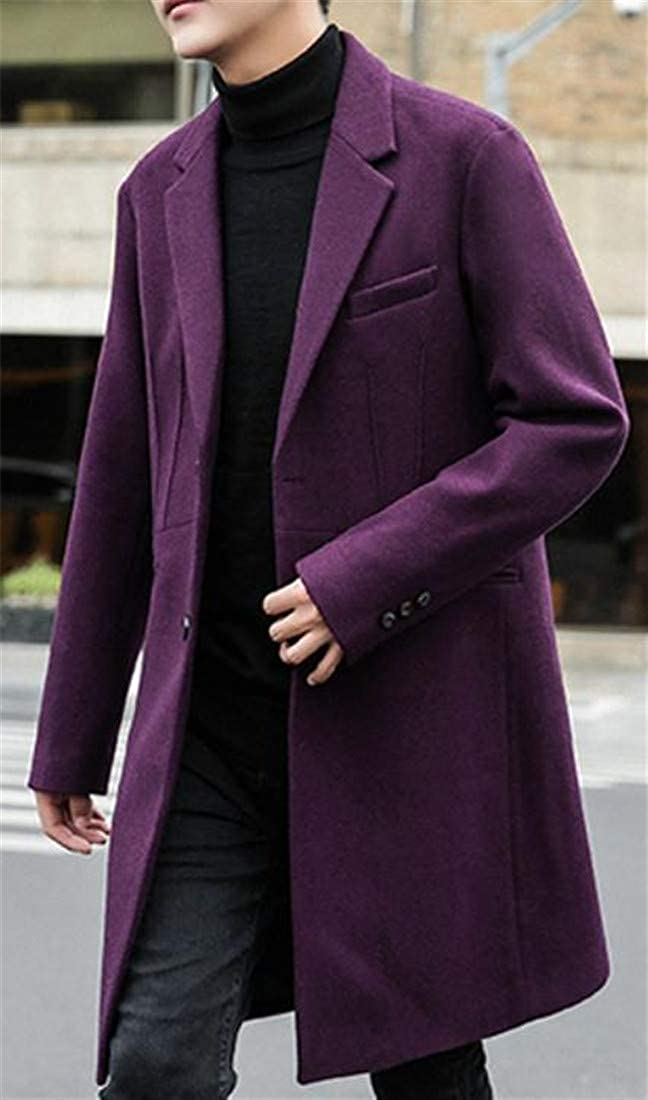 XTX Men Autumn Winter Lapel Single Breasted Woolen Long Jacket Coat Outwear Purple XL