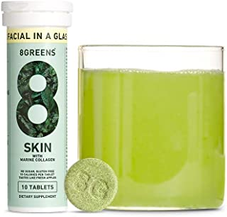 8Greens Skin + Marine Collagen for Beautiful Skin - Effervescent Super Greens Dietary Supplement - 8 Essential Healthy Real Greens in One (10 Tablets)