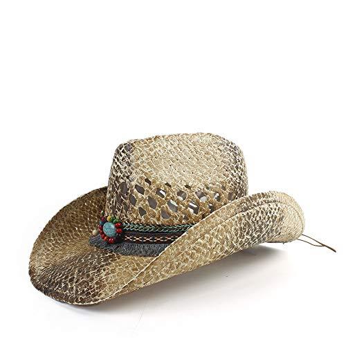 Gorras de cúpula de Moda Qiukui Sombrero de Vaquero de Paja de Verano de 2019, Sombrero de Paja de Panamá Señoras de la Moda Sombrero de Iglesia Cuerda Trenzada de Paja Sombrero de Playa