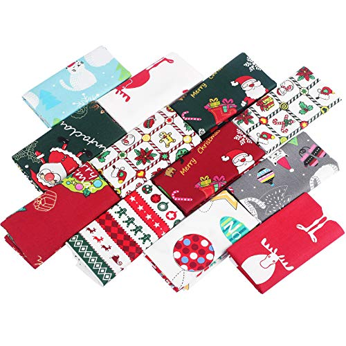 12 Pieces Christmas Cotton Fabric Bundles 20 x 20 Inch Sewing Squares Bundle Multi-Color Fabric Patchwork Christmas Tree Fat Quarters Precut Santa Claus Fabric Scraps for Christmas DIY Quilting