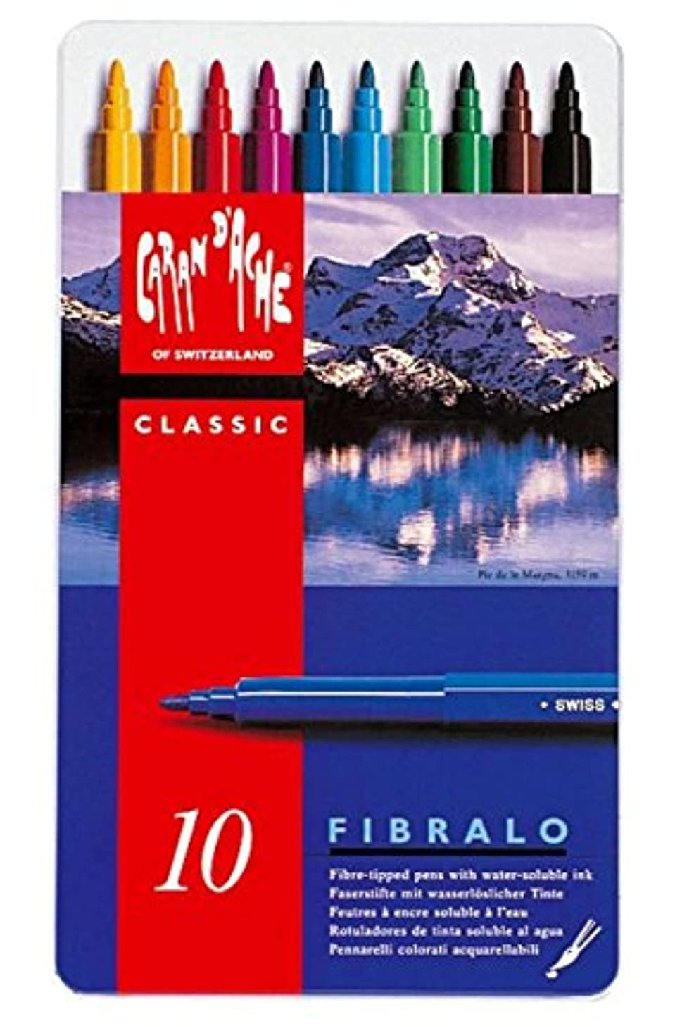 Caran D'ache Fibralo, Metal Box 10 Fibre Pens Assorted (185.310)