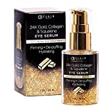 CLAIR BEAUTY 24K Gold Collagen & Squalene Luxury Anti Aging Eye Serum – Firming, De-Puffing & Hydrating   Wrinkle & Fine Line Reducing   Minimizes Signs of Aging & Crow's Feet – 30mL