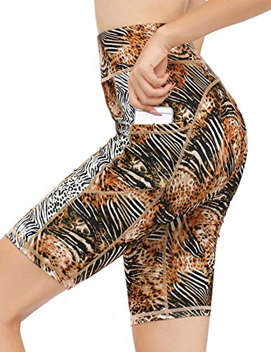 JACK SMITH Yoga Shorts for Women High Waist Running Athletic Workout Bike Compression Shorts with Pocket(M,Animal Print Brown)