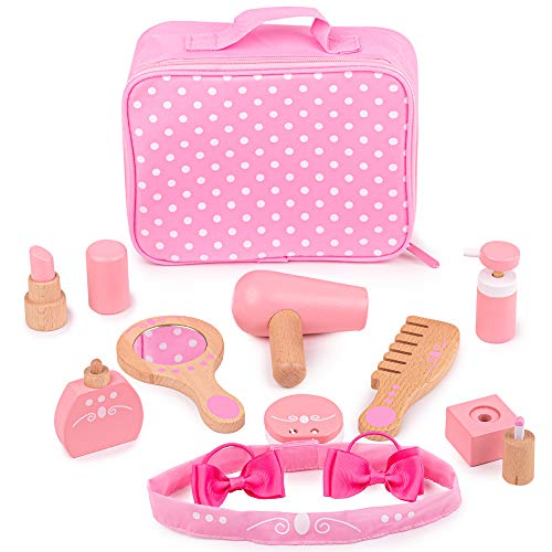 Bigjigs Toys Vanity Kit - Pretend Play Beauty Cosmetic Makeup Set, Multicolored
