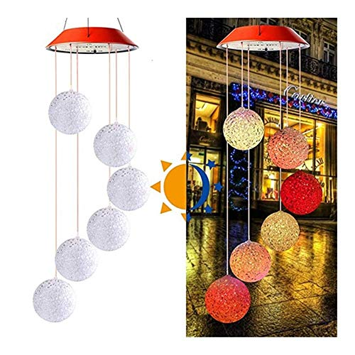 HYJMJJ Summer of Poetry, Solar Powered Wind Chime Light LED Garden Hanging Spinner Lamp Color Changing Solar Garden lamp Home Decoration Solar Garland (Emitting Color : B, Ships from : United States)