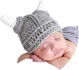 Baby Beard Viking Knit Hat Barbarian Bull Horn Crochet Handmade Knit Beanie Hat