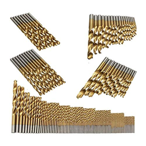 Heinside Comfortable 98Pcs High Speed Titanium Coated Cobalt Steel Drill Bit Set Power Tools1.5mm-10mm Strong (Color : Gold)