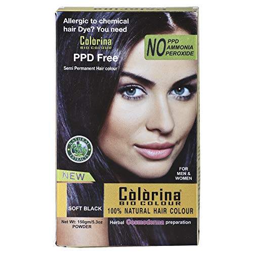 Colorina Bio Color 150gm(50gmX3), Soft Black (Pure Natural Hair Color) | Allergy Free Herbal Hair Color | Can be used on Beard and Mustache