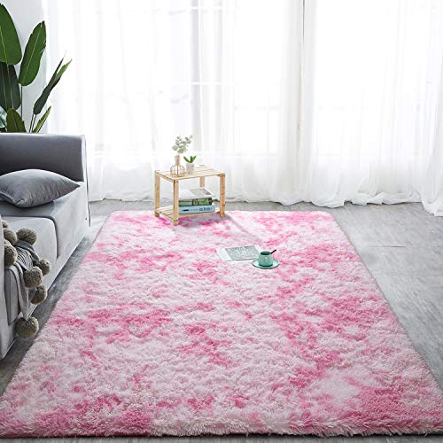 Softlife Fluffy Bedroom Area Rugs 5 x 8 Feet Mordern Collection Rug Indoor Shaggy Carpet for Girls Kids Room Living Room Dorm Nursery Home Holiday Decor, Pink & White