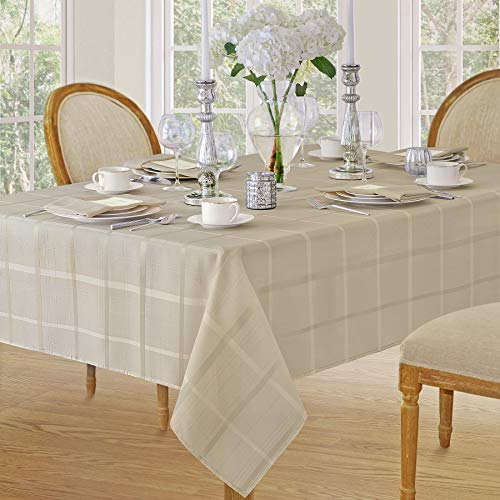 Elegance Plaid Contemporary Woven Solid Decorative Tablecloth by Newbridge, Polyester, No Iron, Soil Resistant Holiday Tablecloth, 60 X 102 Oblong, Beige