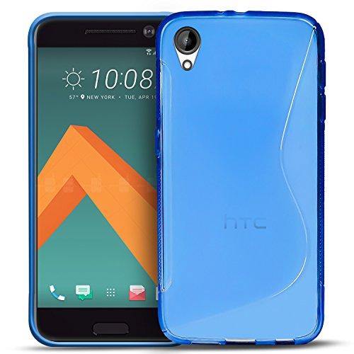Conie SC5912 S Line Hülle Kompatibel mit HTC Desire 825, TPU Smartphone Hülle Transparent Matt rutschfeste Oberfläche für Desire 825 Rückseite Design Blau