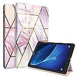 Funda Compatible con Samsung Galaxy Tab A 10.1 2016 SM-T580/T585 (A6), Mármol Carcasa con Magnetica Función de Soporte y Auto-Sueño/Estela, Oro Rosa