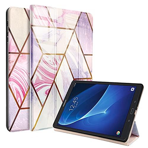Hülle für Samsung Galaxy Tab A 10.1 2016 SM-T580/T585 (A6), Marmor Hülle Ultra Dünn mit Standfunktion Schutzhülle mit Auto Schlaf/Wach und Pencil Halter, Roségold