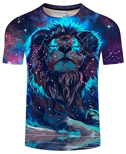 Luotears Galaxy und Lion 3D gedruckt T-Shirt Männer Frauen T-Shirts Sommer Lustige Kurzarm Rundhals Streetwear Tops und T-Shirts tragen d @ M_Hongrui