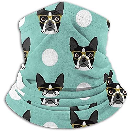 Hui-Shop Boston Terrier Portátil Almacenamiento Cuello Calentador Polaina para Hombres Mujeres Diadema Cara m-Ask Bufanda Sombreros Invierno pasamontañas