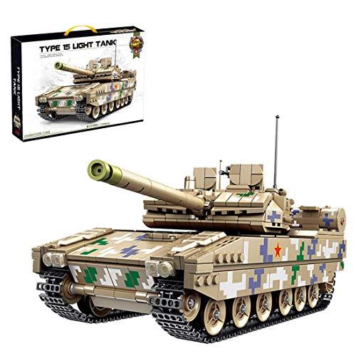 Kit de Modelo de Tanque, 1424 Piezas Tipo Chino 15 Tanque Militares de Batalla Ligera para niños Adultos, Bloques de construcción compatibles con la técnica Lego
