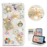 STENES Bling Wallet Phone Case Compatible with Samsung Galaxy A10 - Stylish - 3D Handmade Bottle Crown Flowers Floral Glitter Design Flip Leather Cover Case - White