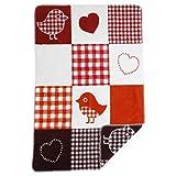 Babydecke aus 100% Bio Baumwolle - NEU bei Minky Mooh®! Kuschelige Baby Decke, Erstlingsdecke, Einschlagdecke oder Baby Kuscheldecke (Karo Patchwork Birdy rot weiß)