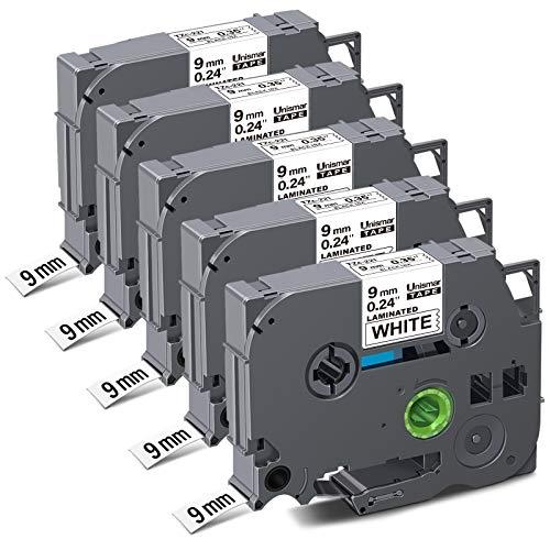 Unismar Tz Tape 9mm 0.35 Laminated White Compatible Label Tape Replacement for Brother PT TZe-221 TZ-221 Tze 221 for PTD210 PTD200 PTH110 PTH100 PTD400 PTD600 PT-1280 PT-1290, 3/8in x 26.2ft, 5-Pack