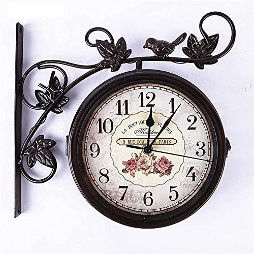 Zegar Ścienny Vintage Dwustronny Zegar Ścienny, Zegar Ścienny Dworzec Centralny, 360 ° Obrotowy Projektowanie Antyczne, Materiały Premium Materiały, Wiszące Wystrój Do Domu Ogrodowy
