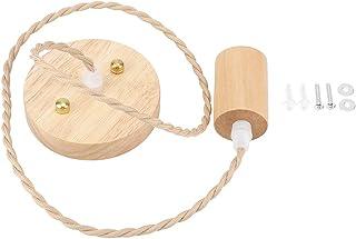 Lámpara colgante de cuerda de cáñamo, E27 Luz colgante de madera de una sola cabeza retro para comedor interior Cama Habitación Restaurante 90-250V