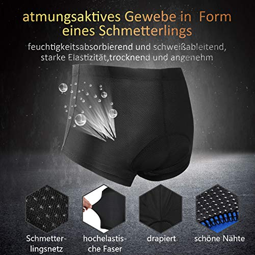 JXJFOZ Radunterhose Herren Gel, Fahrradhose Gepolstert Funktionsunterwäsche Atmungsaktiv 3D Unterhose für Radfahren Reiten Tour (L) - 3