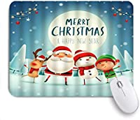 マウスパッド 個性的 おしゃれ 柔軟 かわいい ゴム製裏面 ゲーミングマウスパッド PC ノートパソコン オフィス用 デスクマット 滑り止め 耐久性が良い おもしろいパターン (サンタクロースメリークリスマス漫画雪だるまトナカイ子供雪の大晦日で一緒に踊る)