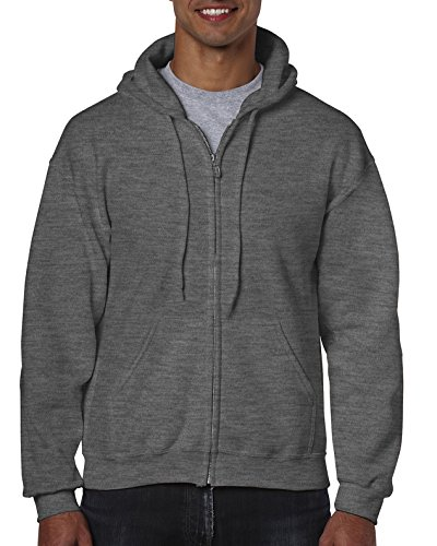 Gildan Men's Fleece Zip Hooded Sweatshirt Extended Sizes Dark Heather XX-Large