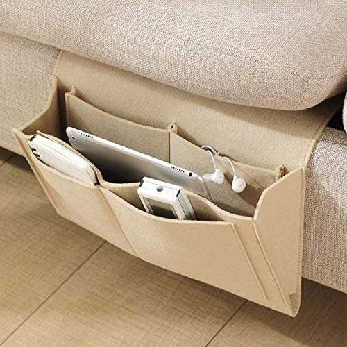MongKok Bedside Felt Storage Bag with Pockets Bed Sofa Desk Hanging Organizer for Phone Magazines Tablets Remotes
