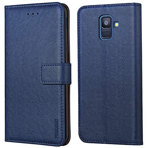 Peakally Samsung Galaxy A6 2018 Hülle, Premium Leder Tasche Flip Wallet Hülle [Standfunktion] [Kartenfächern] PU-Leder Schutzhülle Brieftasche Handyhülle für Samsung Galaxy A6 2018-Blau