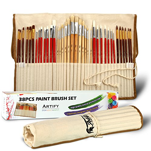 Artify 38 Pcs Paint Brushes Art Set for Acrylic Oil Watercolor Gouache| a Kit of Hog Pony and Nylon Hairs |Including Two Large Size Nylon Brushes and a Carrying Pouch