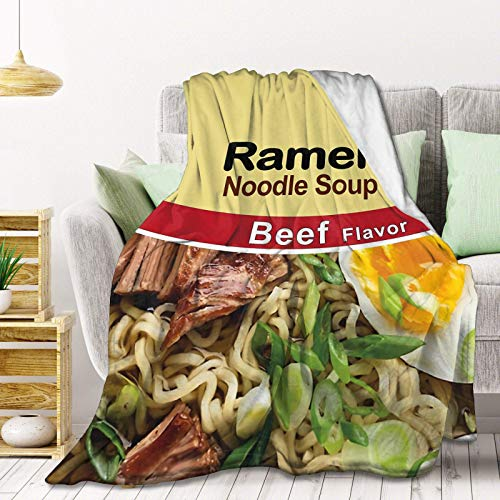 Ramen - Manta de forro polar con sabor a carne de vaca, ligera, súper suave, manta de cama de franela, perfecta decoración del hogar para sofá, silla, sala de estar, 203 x 152 cm, grande