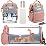Manrany 3 in 1 Diaper Bag Backpack with Changing Station, Foldable Baby Travel Bassinet Bed, Portable Crib, Mummy Bag, Large Capacity, Waterproof, USB Charging Port (Pink & Grey)