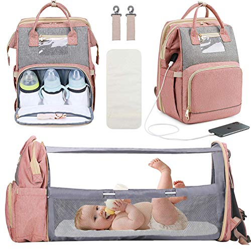Manrany 3 in 1 Diaper Bag Backpack with Changing Station, Foldable Baby...