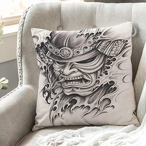 Fundas de Cojines 45x45 cm Funda de Almohada para Decoracion Sofá,Kabuki Mask Decoration, Warrior Samurai D,Poliéster Moderna con Cremallera Invisible Funda de Cojin Decorativa para Cama Hogar, Coche