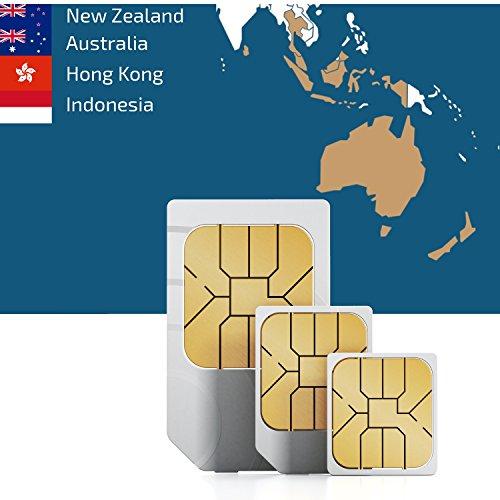 Zuidoost-Azië en Oceanië 3 GB Prepaid data SIM-kaart met 3 GB mobiel internet voor 30 dagen