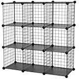 "SONGMICS Metal Wire Cube Storage,9-Cube Shelves Organizer,Stackable Storage Bins, Modular Bookcase, DIY Closet Cabinet Shelf, 36.6""L x 12.2""W x 36.6""H, Black"