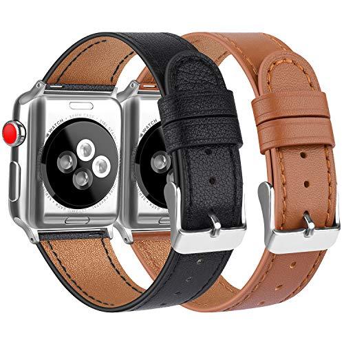 Vancle コンパチブル Apple Watch バンド 本革 レザーベルト アップルウォッチバンド 38mm 42mm 40mm 44mm 交換バンド iWatch Series5/4/3/2/1 レザー製 (42mm/44mm, 2色セット ブラック+ブラウン)