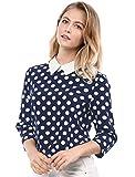 Allegra K Women's Polka Dots Contrast Peter Pan Collar Top 3/4 Sleeves Blouse Shirt Medium Blue