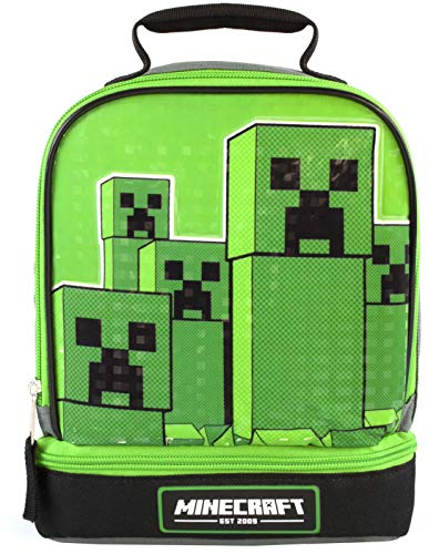 Minecraft Kids Lunchbox Creeper Compartimento con cremallera Green Lunch bag