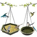 JIAM 2PCS Hanging Bird Feeder Tray, Hanging Bird Bath, Outside Hanging Wild Birdfeeders Food Tray, Tray Plate for Bird Feeder for Attracting Birds, Backyard Decoration - Plastic