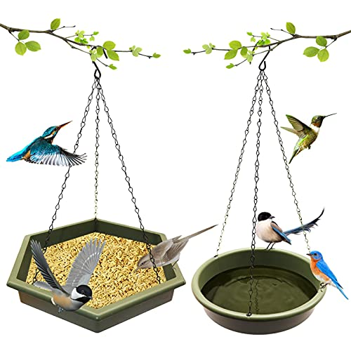2er Set Vogeltränke Vogelbad Hängende Vogelbad Vogelfütterer Futterschale Hängend Futterteller Vogelfutterspender Mit Vogeltränke Wildvögel Futterstationen Hinterhof Garten Garten Hinterhof Dekoration